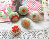 Handmade Tilda Small Red Mint Green Pink Off White Floral Flower Fabric Covered Buttons, Flat Backs, 0.8 inches 5's