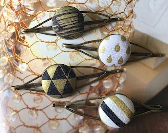 Handmade Modern Gold Golden Off White Black Aztec Arrow Floral Geometric Print Bronze Hair Clip Hair Pin Accessories