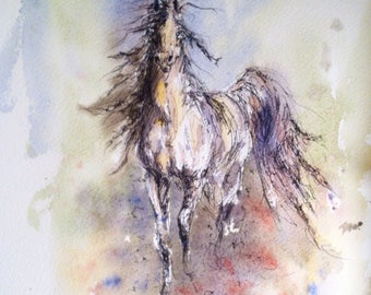Fight-The Challenge Mustang Horse Equine Art Line and Wash Watercolor Watercolour Caballo wild horse