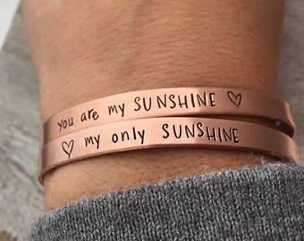 You are my Sunshine, my only Sunshine Bracelet Set - mother daughter jewelry - Copper Cuff Bracelet - Sunshine bracelet - Stacking Bracelet