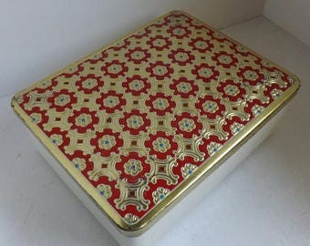 On Sale Vintage Eduscho Kaffee German Mid Century Coffee Tin Embossed Red Blue and Gold Floral Lid with White Vinyl Leatherette Sides