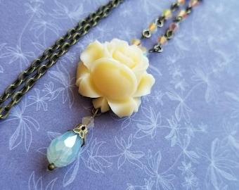 Blush rose necklace
