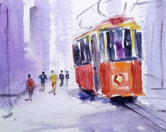 original watercolor painting ACEO red tram 2.5x3.5 inches