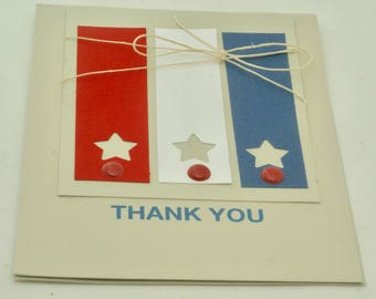 Patriotic card. Stars and Stripes. USA military note card. Americana Red, White and Blue card. Notecard with stars. Thank you note,