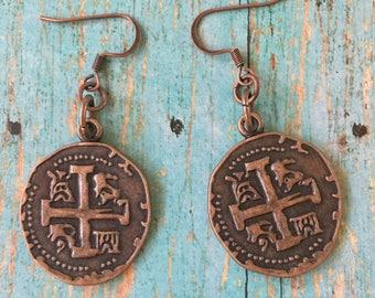 CROSS Coin Earrings Copper Charms Dangle Pierced