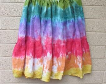 Tie dye plus size cotton skirt