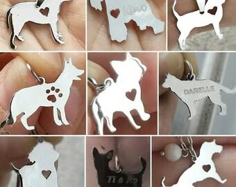 sterling silver dog pendant, pet, perro, animal, pitbull, chihuahua,  rescue dog,  personalize charm,  dog jewelry, man, men, woman, woman