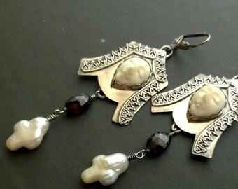 Anne Boleyn statement earrings - sterling silver, carved bone face, freshwater cross and garnet