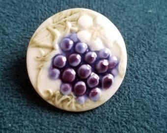 Vintage Cottage Chic Porcelain hand painted grape design button(July 102 17 )