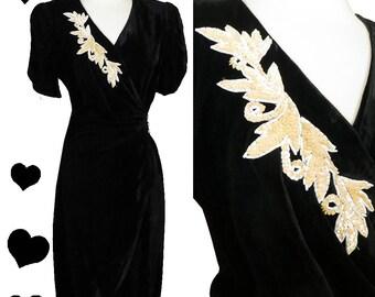 Vintage 80s Dress //  Velveteen Cream Sequin 40s Style Film Noir WRAP WWII Dress Pinup Rockabilly M Cocktail Party Swing Dance Medium Petal