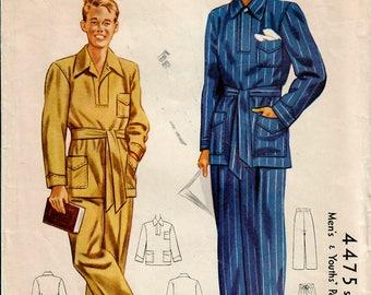 1940s McCall 4475 Vintage Sewing Pattern Men's Pajamas, Tailored Pajamas Size Medium