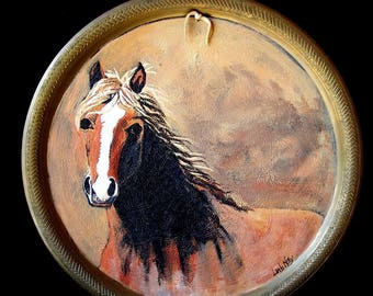 """Original Palomino Horse painting on a Brass tray painted with acrylic 15 3/4"""" round , gift, decor,rustic,reclaimed,ranch"""