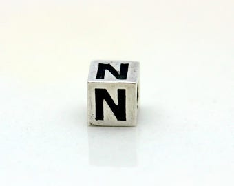 Sterling Silver Alphabet N Block Cube Square Bead 4mm