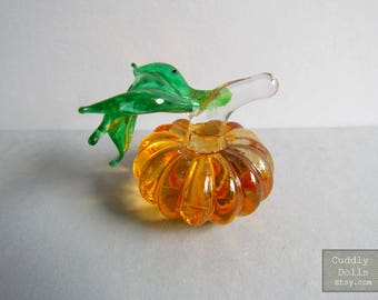 Yellow Pumpkin Vegetables Fruit Hand-Blown Glass Figurine Statue Collectible Gifts Decoration FRUIT Glass Pumpkin Glass Miniature