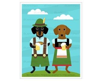 323D Dog Prints - Dachshund Dogs Wearing Dirndl Dress and Lederhosen Wall Art - Dachshund Print - Oktoberfest Decor - German Wall Art