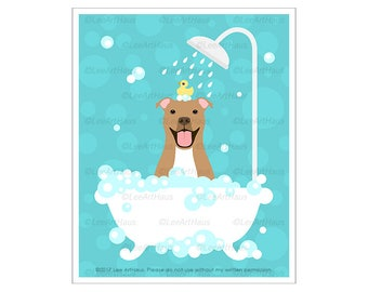 343D - Dog Art Prints - Brown Pitbull Dog in Bathtub Wall Art - Pit Bull Print - Dog Drawing - Bathroom Home Decor - Bubble Bath Wall Art