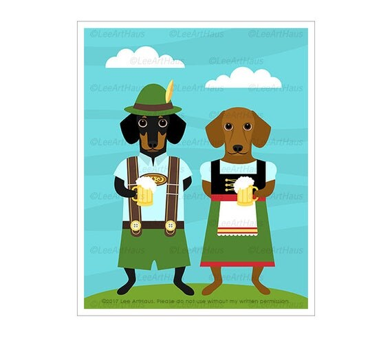 323D Dog Prints - Dachshund Dogs Wearing Dirndl Dress and Lederhosen Wall Art - Dachshund Print - Oktoberfest Decor - German Wall Art