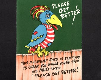 Novelty Vintage Greeting Card - Get Well - with Feather