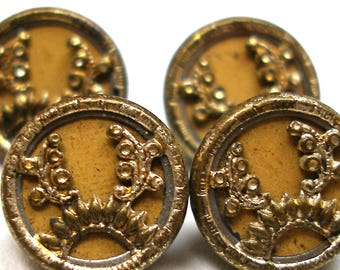 "Mini Antique BUTTONS, 4 Victorian metal in gold, 3/8"". Austrian tinies."