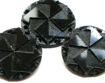 LG Pinwheel BUTTONs, 1800s Victorian black glass, 2 sizes.