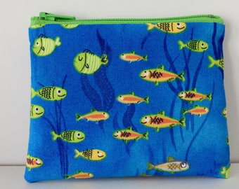 Fun Fish Coin Purse - Ocean Theme Cotton Change Purse - Small Zipper Pouch