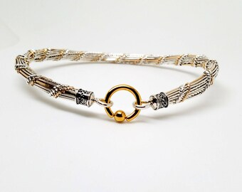 Made To Order Ultra Discreet Slave Collar Sterling Silver & 14kt GF Accents With Gold Plated Stainless Steel Locking Clasp Tucker Twist No12