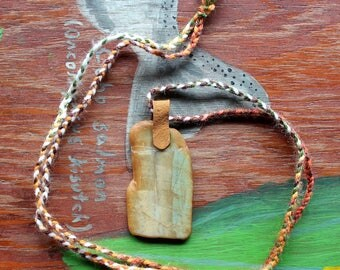 Tumbled agate and leather necklace with hand-braided yarn cord - simple nature jewelry