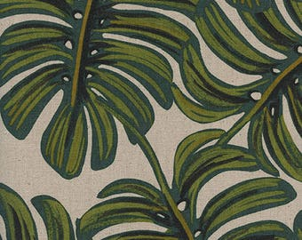 Monstera Natural -  Cotton/Linen CANVAS - Menagerie - Anna Bond Rifle Paper Co - Cotton + Steel - 8039-12 Per Half Yard