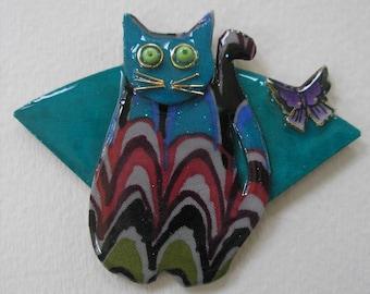 Signed Dalton Modernist Teal Whisker Butterfly Fan Cat Pin Pendant