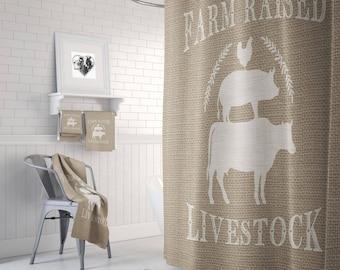 Live Stock Shower Curtain Farmhouse Chic Faux Burlap  Feed Bag ,  Bath Mat, Bath Towels Grunge