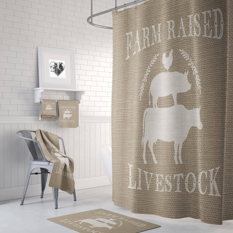 Live Stock Shower Curtain Farmhouse Chic Faux Burlap Feed Bag