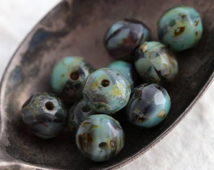MAJESTIC MINT TOTS .. 10 Premium Picasso Czech Glass Rondelle Beads 5x7mm (5905-10)