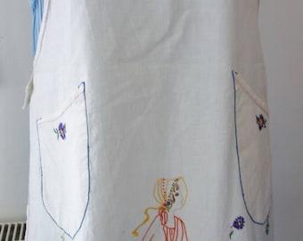 vintage hand embroidered crinoline lady apron