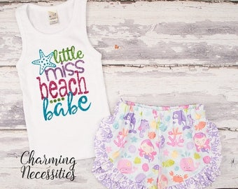 SALE NEW Little Miss Beach Babe Glitter Tank Top and Ruffle Shorts Set, Fan, Trendy Baby Toddler Girls Clothes, Outfits, by Charming Necessi