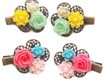 Mini Floral Cluster Hair Clips-Set of Two-Bright Colored Clips-Kid's Gift-Fashion Accessory-Small Accent-Floral Clips-Decora Fashion-Kawaii