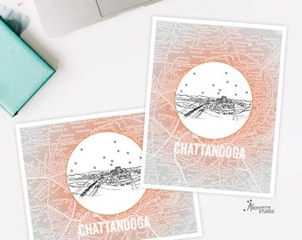Chattanooga, Tennessee - United States - Instant Download Printable Art - Vintage City Skyline Map Series