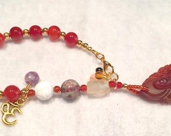 Carnelian Kuan Yin meditation beads