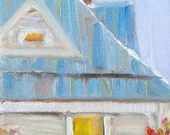 Blue house, Original Oil on canvas