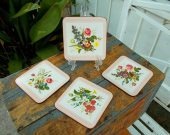 Vintage Pimpernel Acrylic Flower Coasters with Cork Backing - Vintage Drink Coasters - English Wildflower Coasters - Dining Decor