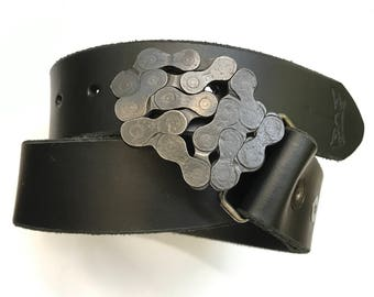 bicycle chain belt buckle - hand forged buckle for snap belt - gift for cyclist - chain buckle #31- Father's Day gift
