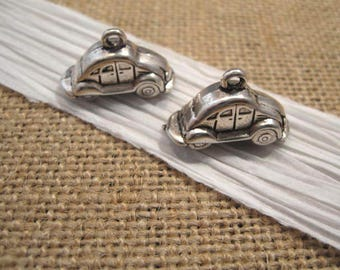 Pewter Antique Silver Automobile Charms - 2 Count