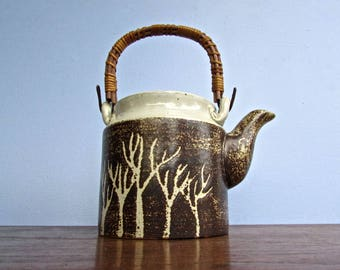Stunning Vintage Pottery Teapot, Studio Pottery Handmade, Graphic Aspen Tree Design