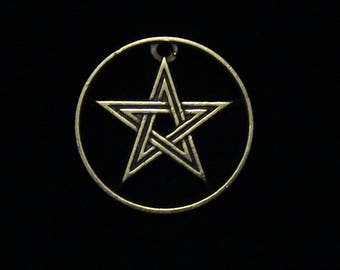 Morocco - cut coin pendant -  pentagram or pentangle - 1945