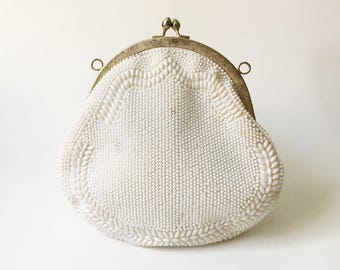 Beaded Purse White Purse Beaded coin purse Small clutch purse Vintage Purse 1950s purse