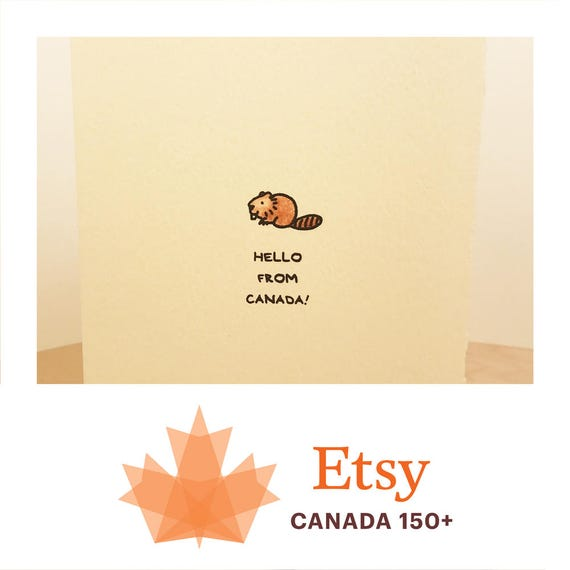 Hello From Canada Cute Happy Beaver Canadian Souvenir Sweet Fun Animal Funny Adorable Made in Canada Toronto Wholesale Canadiana Kawaii