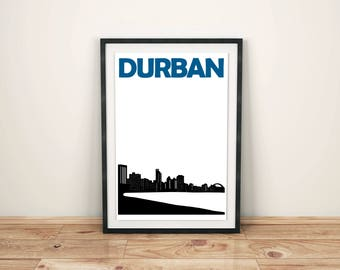 Durban City Print // South Africa Travel // African Art // Durban Poster // Durban Art // Durban Print // South African Print / Gift for him