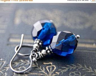 Dangle Earrings, Glass Earrings, Sapphire Blue, Blue Glass, Czech Glass, September Birthstone, Cobalt Blue, Sterling Silver, PoleStar
