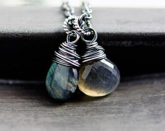 Labradorite Pendant Necklace, Moonstone Crystal Necklace, Rainbow Moonstone Pendant, Sterling Silver Necklace
