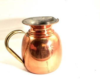 Labor Day Sale Copper pitcher jug  brass handle with Portugal