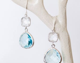 Silver Aquamarine drop earrings, crystal color, blue glass, beach-inspired, dangle, charm, jewelry, bridesmaid gift, Handmade in Santa Cruz